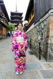 Japanische Frau mit Kimonobesuch yasaka Pagode Stockfoto