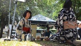 Japanische Frauen, die sado chanoyu oder japanische Teezeremonie, auch genannt die Weise des Tees machen stock footage