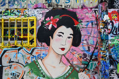 Japanische Geishagraffiti Lizenzfreie Stockbilder