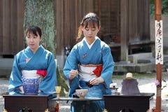 Japanische grüne Teezeremonie im Garten Stockfotografie