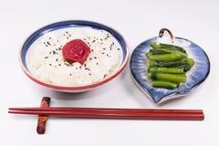 Japanische Küche, japanischer weißer Reis und traditioneller Japaner U Lizenzfreie Stockfotografie