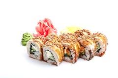 Japanische Küche, Rollen mit Aal Stockfotografie