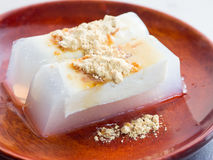 Japanische Küche, selbst gemachtes Tofunährbodengelee Stockbild