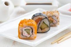 Japanische Küche - Sushi und Rollen Lizenzfreies Stockbild