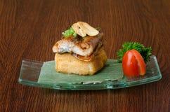 Japanische Küche unagi oder Aal auf dem Hintergrund Stockfoto