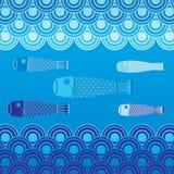 Japanische Karpfen-Flagge und Wellen-Hintergrund Vecto Lizenzfreie Stockbilder