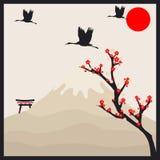 Japanische Karte im Retrostil Lizenzfreie Stockfotografie