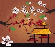 Japanische Karte mit Kirschblüte Stockfotografie
