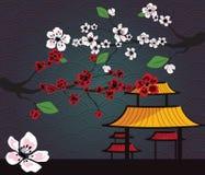 Japanische Karte mit Kirschblüte Stockfotos