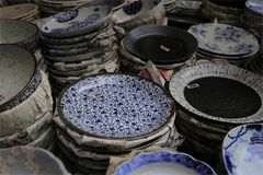 Japanische keramische Platten Stockfoto