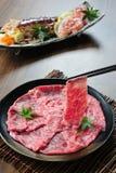 Japanische Kobe-Rindfleischscheibe Stockfoto
