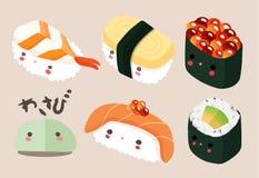 Japanische Lebensmittel-Illustration, Sushi-Vektor Lizenzfreie Stockfotografie