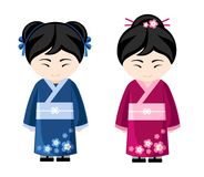 Japanische Mädchen im Kimono lizenzfreie abbildung