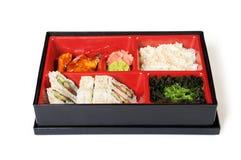 Japanische Mahlzeit in einem Kasten (Bento) Lizenzfreie Stockfotografie