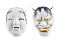 Japanische Maske lokalisiert über weißem Hintergrund Stockbilder
