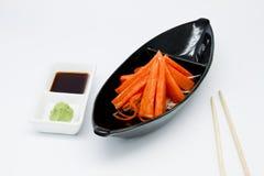 Japanische Nahrungsmittelart, Befestigungsklammersteuerknüppel und wasabi stockfoto