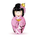 Japanische nationale Puppe Kokesh in einem rosa Kimono kopiert mit Kirschblüten Vektorabbildung auf weißem Hintergrund Ein charac Stockfoto