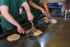Japanische Pizza auf Ofen Stockfotos