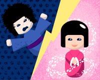 Japanische Puppen mit positiver und negativer Gefühlillustration vektor abbildung