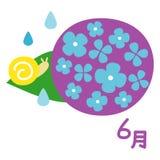 Japanische Regenzeit, Hortensie mit einer Schnecke, Juni auf japanisch lizenzfreie abbildung