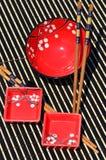 Japanische Reisschüsseln und Ess-Stäbchen Lizenzfreies Stockfoto