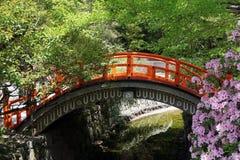 Japanische rote Holzbrücke im Park stockbild