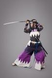 Japanische Samurais mit katana Klinge Lizenzfreie Stockfotos