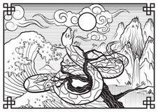 Japanische Schwarzweiss-Illustration Stockbild