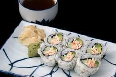 Japanische Sushi u. Tee Stockfoto