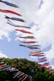 Japanische traditionelle bunte Karpfen-förmige Ausläufer Stockbild