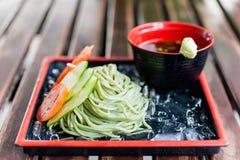 Japanische traditionelle Nahrung der kalten soba Nudel Lizenzfreie Stockfotos