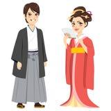 Japanische traditionelle Paare lizenzfreie abbildung