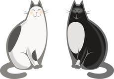 Japanische und schwarze Katzen Stockbilder