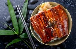Japanischer Aal grillte mit Reis, oder Unagi ziehen an Stockfoto