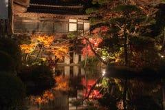 Japanischer Ahornbaum, der über den Teich nachdenkt Stockfotografie