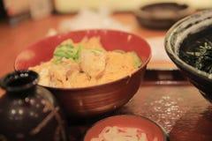 Japanischer bento Reis eingestellt mit hölzernem Hintergrund Stockbild