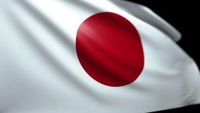 Japanischer Flaggen-Hintergrund, der im Wind nahtloses Schleifungsluma Matt-4K durchbrennt stock video
