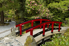Japanischer Garten mit roter Brücke Stockbild