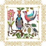 Japanischer Garten Vögel und Blumen Lizenzfreie Stockbilder