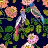 Japanischer Garten Vögel und Blumen Stockbild