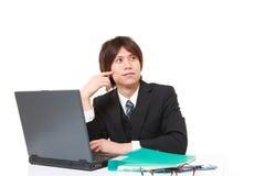 Japanischer Geschäftsmann, der an seiner Zukunft träumt Stockbild