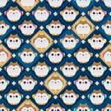 Japanischer glücklicher Eulendiamant innerhalb des nahtlosen Musters Stockfoto