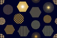 Japanischer goldener Druck mit Hexagonen Lizenzfreies Stockbild