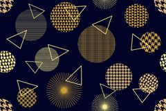 Japanischer goldener Druck Nahtloses Vektormuster mit verschiedenen geometrischen Formen Stockfotos