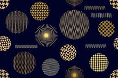 Japanischer goldener Druck Nahtloses Vektormuster mit verschiedenen geometrischen Formen Stockfotografie