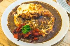Japanischer Hamburger-Curry-Reis Lizenzfreie Stockbilder