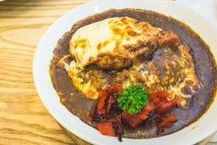 Japanischer Hamburger-Curry-Reis Lizenzfreie Stockfotografie