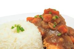 Japanischer Küchereis mit frittiertem Huhn und Currysoße mit Kartoffeln und Karotten Stockfotografie