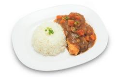 Japanischer Küchereis mit frittiertem Huhn und Currysoße mit Kartoffeln und Karotten Lizenzfreie Stockfotos