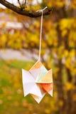 Japanischer Kirigami Papercraft Stern gehangen in Natur Lizenzfreie Stockfotografie